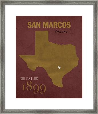 Texas State University Bobcats San Marcos College Town State Map Poster Series No 108 Framed Print by Design Turnpike
