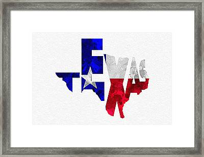 Texas Typographic Map Flag Framed Print by Ayse Deniz