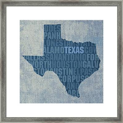 Texas Word Art State Map On Canvas Framed Print by Design Turnpike