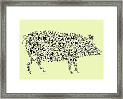 Text Pig Framed Print by Heather Applegate