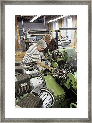 Textile Mill Loom Operator Training Framed Print by Jim West