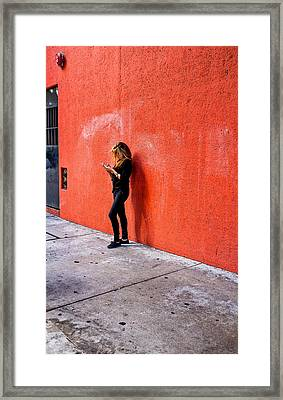 Texting Framed Print by Thomas Hall Photography