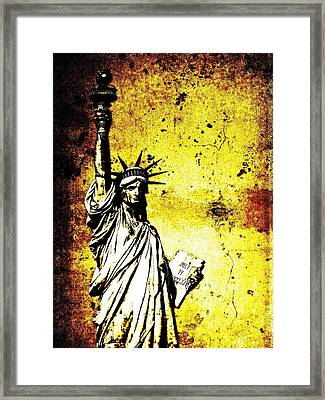 Textured Statue Of Liberty Framed Print by Dan Sproul