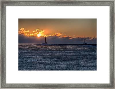 Thacher Island Lighthouse Morning Dawn Framed Print by Jeff Folger