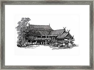 Thai House Sketch Framed Print by Thanes