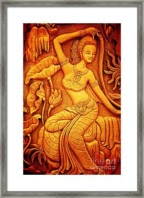 Thai Style Art Carving Wood Thailand. Framed Print by Jeng Suntorn niamwhan