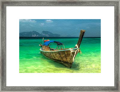 Thailand Long Boat Framed Print by Adrian Evans