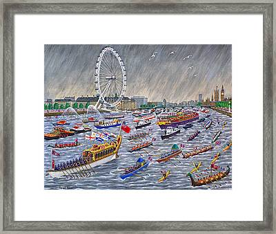 Thames Diamond Jubilee Pageant  Framed Print by Ronald Haber