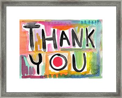 Thank You Card- Watercolor Greeting Card Framed Print by Linda Woods
