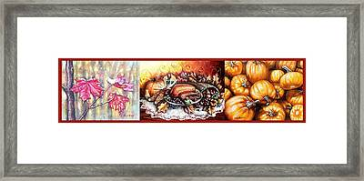 Thanksgiving Autumnal Collage Framed Print by Shana Rowe Jackson