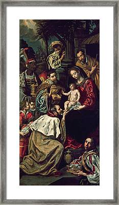 The Adoration Of The Magi, 1620 Oil On Canvas Framed Print by Luis Tristan de Escamilla