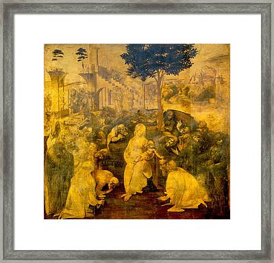 The Adoration Of The Magi Framed Print by Leonardo Da Vinci