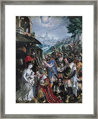 The Adoration Of The Magi  Framed Print by Maarten de Vos