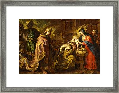 The Adoration Of The Magi Framed Print by Orazio de Ferrari