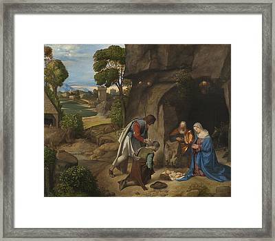 The Adoration Of The Shepherds Framed Print by Giorgio da Castelfranco Giorgione