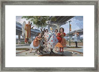 The Aging Angel Descends On The Land Of Staten Islandia Framed Print by Alfredo Arcia