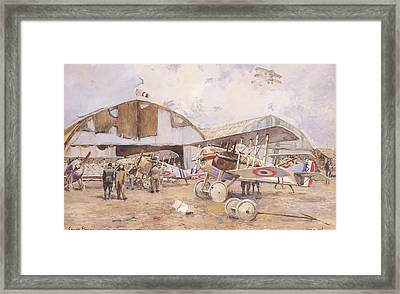 The Airfield, 1918 Wc On Paper Framed Print by Francois Flameng