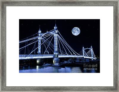 The Albert Bridge And The Moon Framed Print by Simon Kayne