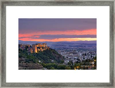 The Alhambra And Granada City At Sunset Framed Print by Guido Montanes Castillo