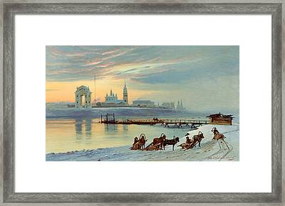 The Angara Embankment In Irkutsk Framed Print by Nikolai Florianovich Dobrovolsky