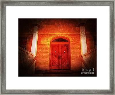 The Angry Red Door Framed Print by Becky Lupe