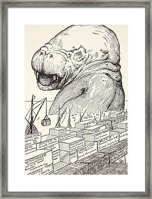 The Animal That Came Out Of The Sea And Ate Up All The Food That Suleiman-bin-daoud Had Made Ready F Framed Print by Joseph Rudyard Kipling