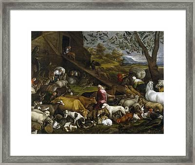 The Animals Entering Noah's Ark Framed Print by Jacopo Bassano
