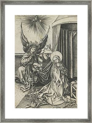 The Annunciation Framed Print by Martin Schongauer