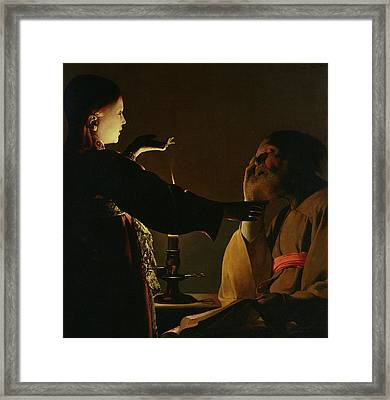 The Appearance Of The Angel To Saint Joseph Framed Print by Georges de la Tour
