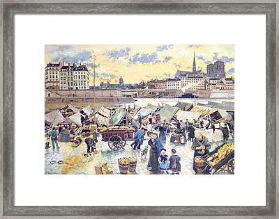 Shopping Cart Framed Print featuring the painting The Apple Market by Emile Antoine Guillier