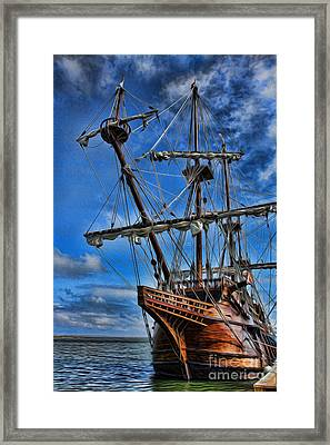The Approaching Storm - Spanish Galleon Framed Print by Lee Dos Santos