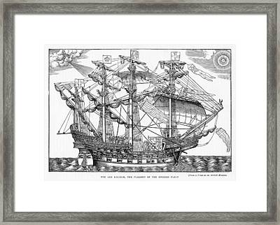 The Ark Raleigh The Flagship Of The English Fleet From Leisure Hour Framed Print by English School