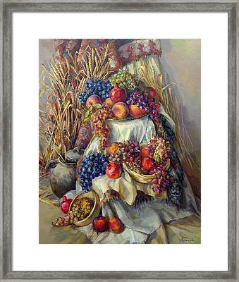 The Armenian Still Life With A Grapes And Pomegranates Framed Print by Meruzhan Khachatryan