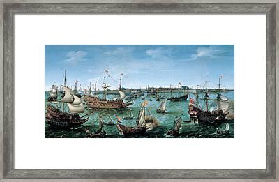 The Arrival At Vlissingen Of The Elector Palatinate Frederick V Framed Print by Hendrik Cornelisz Vroom