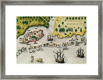 The Arrival Of The English In Virginia Framed Print by Theodore de Bry