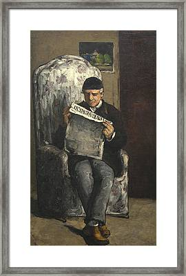 The Artists Father Reading L Evenement Framed Print by Paul Cezanne