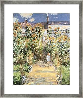 The Artist's Garden At Vetheuil Framed Print by Claude Monet