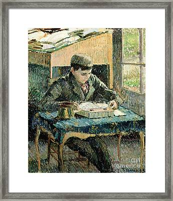 The Artists Son Framed Print by Camille Pissarro
