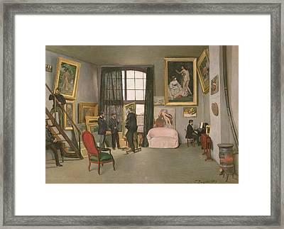 The Artist's Studio Framed Print by Jean Frederic Bazille