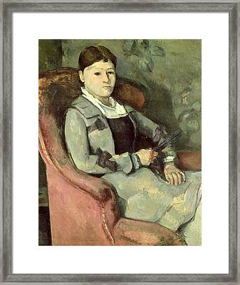 The Artists Wife In An Armchair, C.187888 Oil On Canvas Framed Print by Paul Cezanne