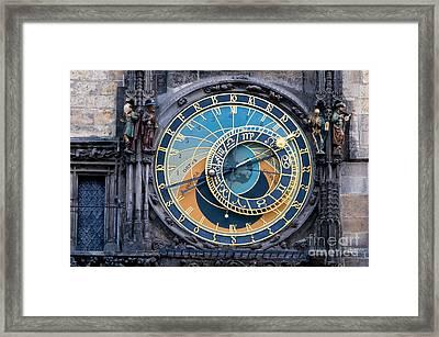 The Astronomical Clock In Prague Framed Print by Michal Bednarek
