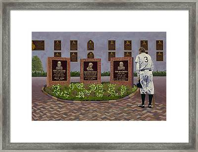 The Babe At Monument Park Framed Print by Ron Gibbs