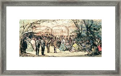 The Bal Mabille Pen & Ink And Wc On Paper Framed Print by Jules de Goncourt