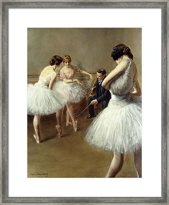 The Ballet Lesson Framed Print by Pierre Carrier-Belleuse