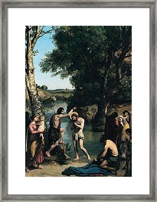 The Baptism Of Christ Framed Print by Jean Baptiste Camille Corot
