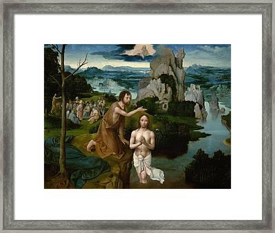 The Baptism Of Christ Framed Print by Joachim Patinir