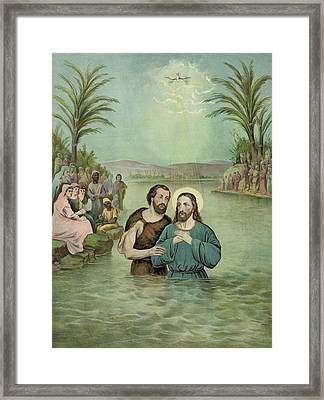 The Baptism Of Jesus Christ Circa 1893 Framed Print by Aged Pixel
