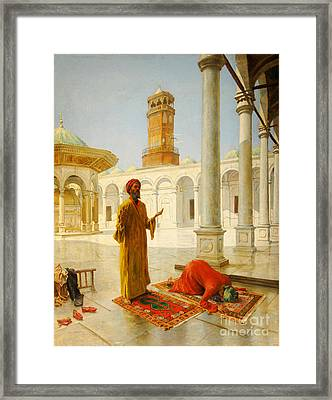 Muslim Prayer Framed Print by Albert Joseph Franke