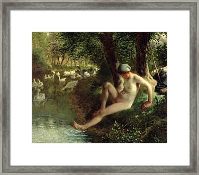 The Bather Framed Print by Jean Francois Millet