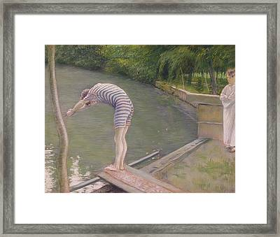 The Bather Or The Diver Framed Print by Gustave Caillebotte